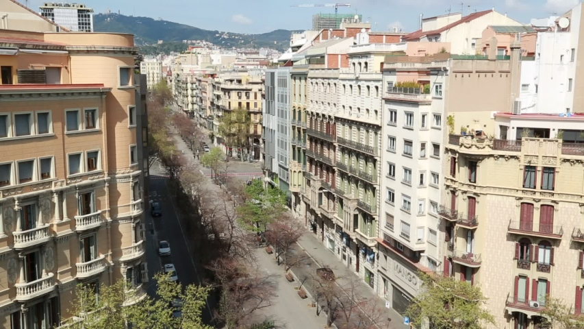 Deserted streets of Barcelona, Spain during Covid 19 coronavirus crisis. General view from the terrace.