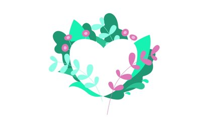 Flowers and leaves grow and the heart appears . Animation in the style of flat design. Green and pink colors. Spring mood on white background. Suitable for Valentine's day or as a like. 4K clip.