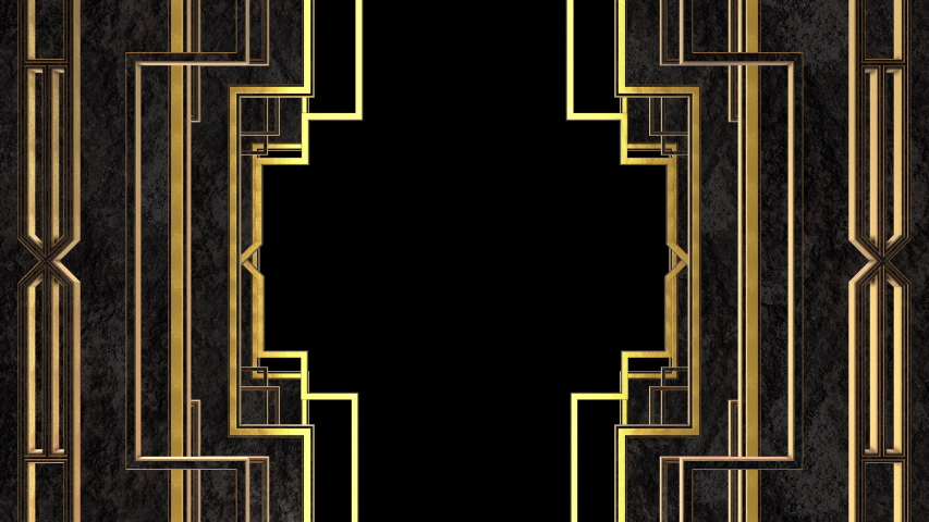 Art Deco Gatsby Golden Black Partitions animation. Incl ALPHA MATTE. Ideal 4K animated 3D model frame for TV show, intro, documentary, catwalk stage design or The Great Gatsby and 1920s theme projects