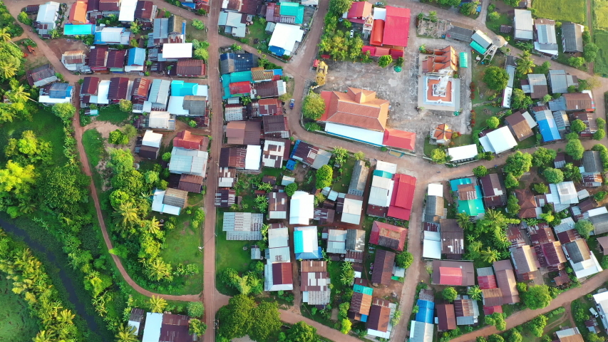 Rural areas of Thailand at home, temple community, aerial view   Shutterstock HD Video #1048799479