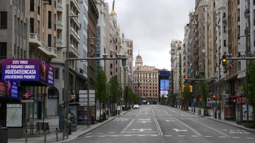 Gran Vía street in Madrid empty due to the state of alarm in Spain by COVID-19. Filmed on March 23, 2020.
