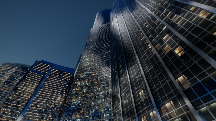 Cty skyscrapers at night with dark sky | Shutterstock HD Video #1048837210