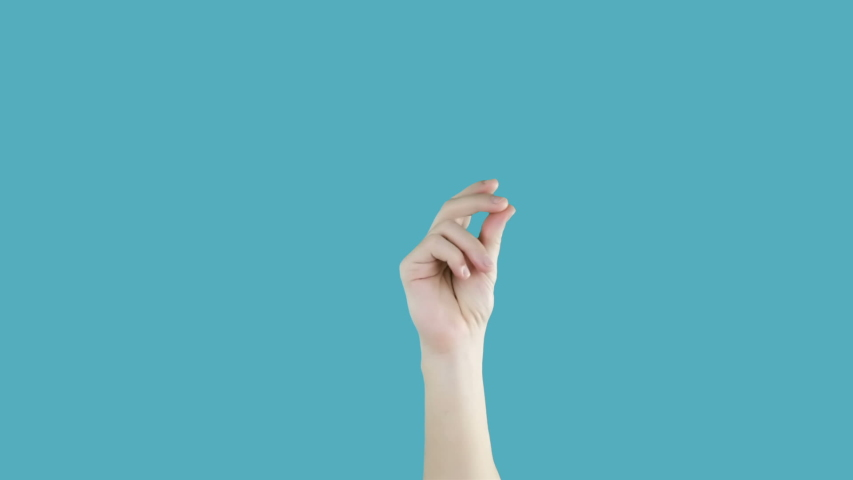 Male hand with snapping fingers on blue screen background. Chromakey | Shutterstock HD Video #1048845247