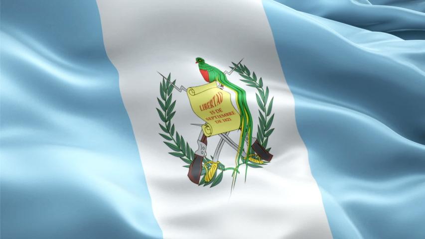 Guatemala waving flag. National 3d Guatemalan flag waving. Sign of French Guatemala seamless loop animation. Guatemalan flag HD resolution Background. Guatemala flag Closeup 1080p Full HD video fo