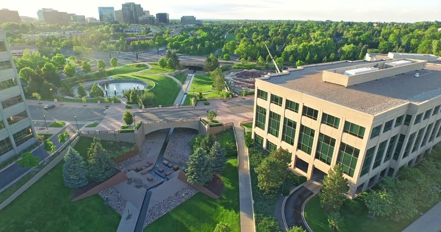 Denver, Colorado, USA-June 14, 2015. Aerial view of urban park in business park. | Shutterstock HD Video #10488632