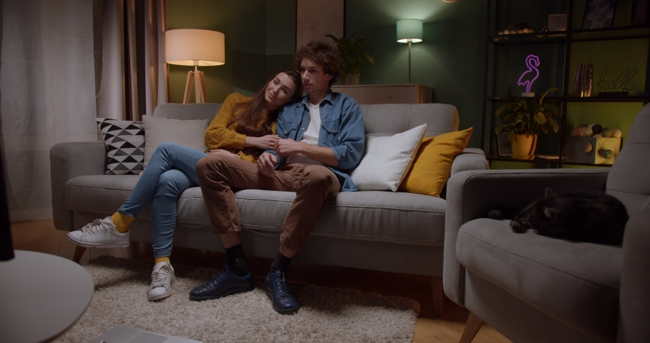 Young Caucasian guy hugging his girlfriend while they sitting on the sofa in the living room and watching nice movie on TV. Stay at home. Qurantine, pandemic coronavirus concept. | Shutterstock HD Video #1048878310