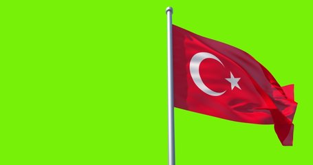Turkey flag on flagpole on green background. Turkish Flag in Slow Motion. The Republic of Turkey flag waving in wind. Great for History, presentation with texts and corporate projects.