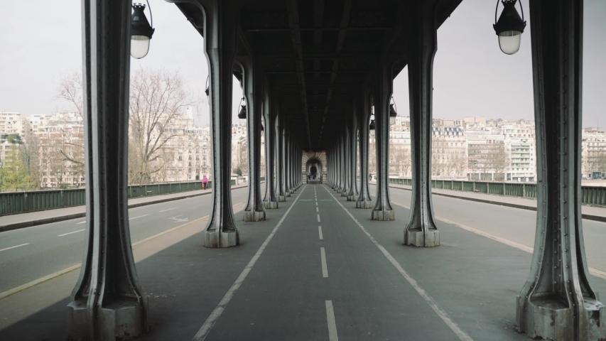 Paris, France - 20 03 2020 - Deserted Bir Hakeim bridge during coronavirus / Covid19 lockdown
