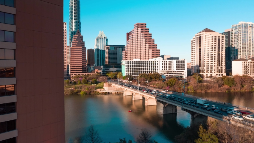 4K Austin Skyline Cesar Chavez Congress Avenue South First Bridge Time Lapse