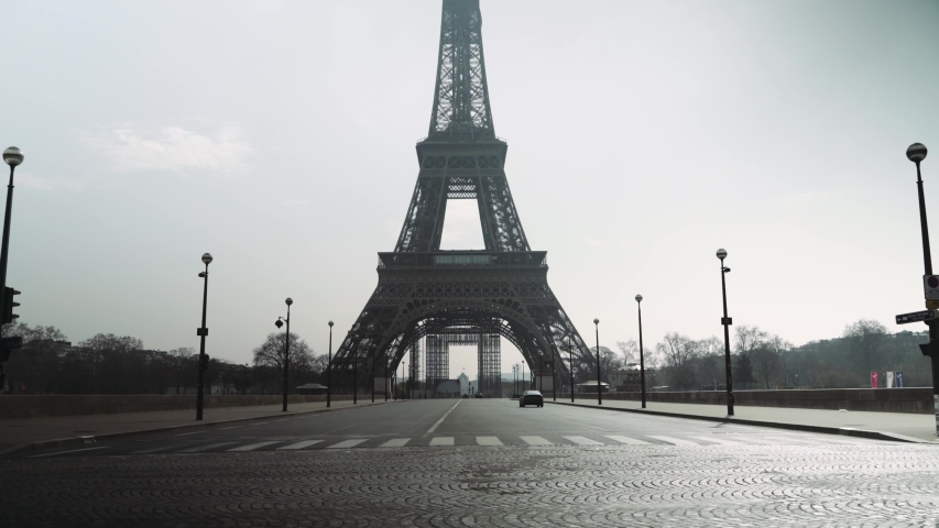 Paris, France - 03 20 2020: Deserted Eiffel tower during coronavirus / Covid-19 lockdown