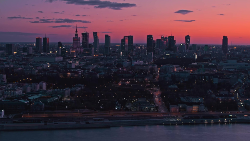 Aerial View of Warsaw, Vistula River, Świętokrzyski Bridge. Beautiful sunset, Warszawa, Poland, Polska | Shutterstock HD Video #1048908442