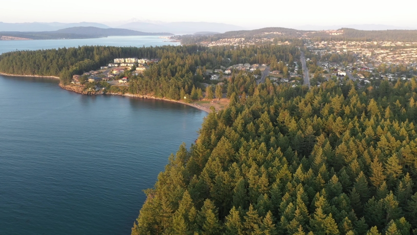 Drone footage of Washington Park, Anacortes , Washington and surrounding area, a small, charming, quaint old town near Seattle, Washington | Shutterstock HD Video #1048911382