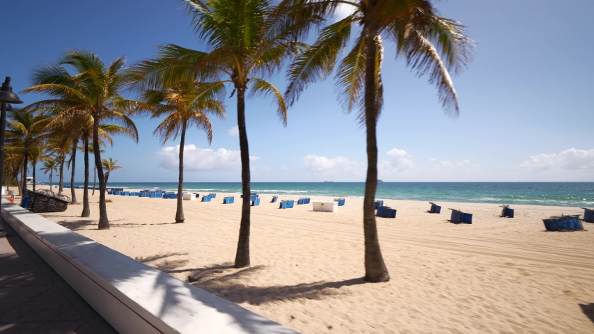 Empty beaches Fort Lauderdale government ordered shut down stop spread Coronavirus