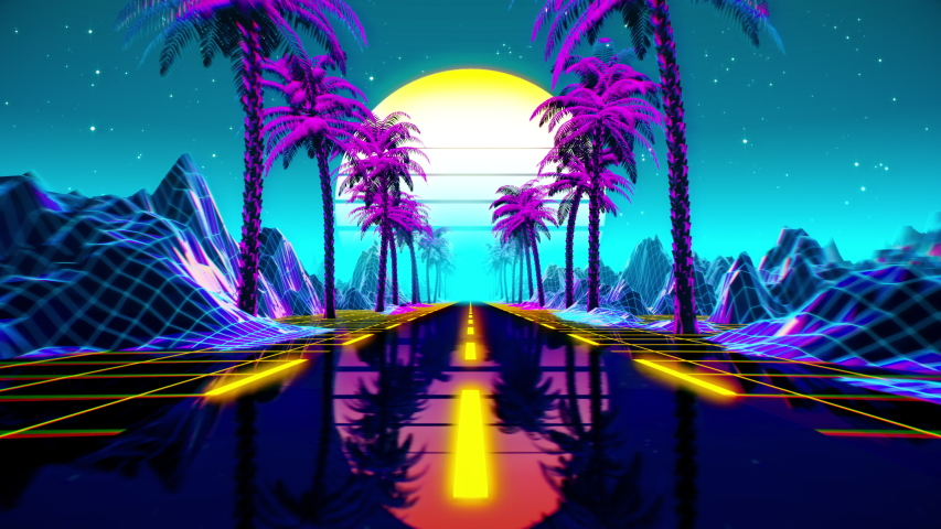 80s retro futuristic sci-fi seamless loop. Retrowave VJ videogame landscape, neon lights and low poly terrain grid. Stylized vintage vaporwave 3D animation background with mountains, sun and stars. 4K | Shutterstock HD Video #1048913746