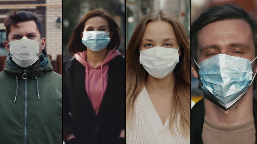 Group of people in masks, collage citizens Virus mask on street wearing face protection in prevention for coronavirus covid 19. public space on quarantine | Shutterstock HD Video #1048953331