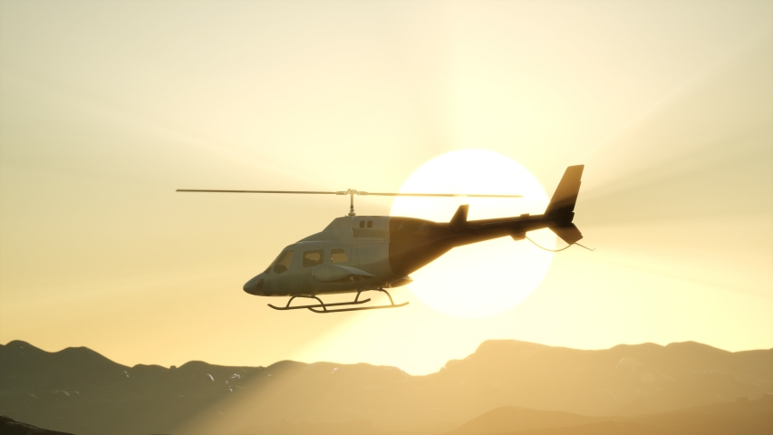 8K extreme slow motion flying helicopter and sunset sky