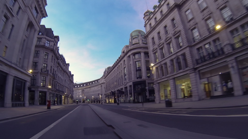 Regent Street, London / UK - March 24 2020: Corona Virus Lockdown, Driving Along Empty Regent Street, Ghost Town