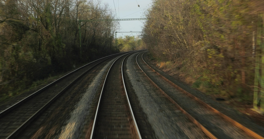 Train journey point of view from driver's view | Shutterstock HD Video #1048964875