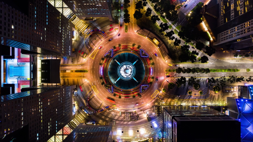 4K Hyperlapse time-lapse of car traffic transport at roundabout fountain of wealth in Singapore, drone aerial top view, fly upward. Transportation technology, city life, Asia travel landmark concept Royalty-Free Stock Footage #1048971157