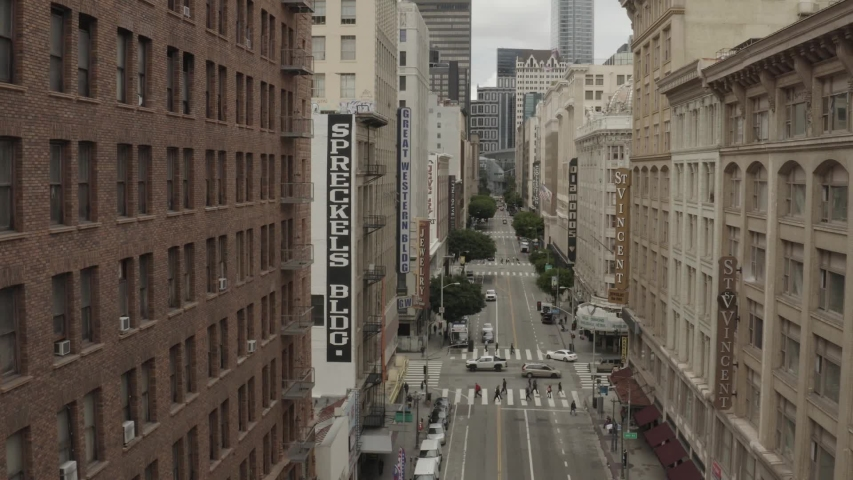 CIRCA 2020 - aerial of empty abandoned streets of Los Angeles during Covid-19 corona virus outbreak epidemic.