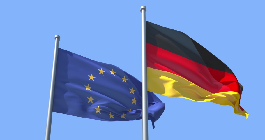 Germany and EU flag on a flagpole realistic wave on wind not synchronously, solid background. The European Union and the Federal Republic of Germany. | Shutterstock HD Video #1049042134