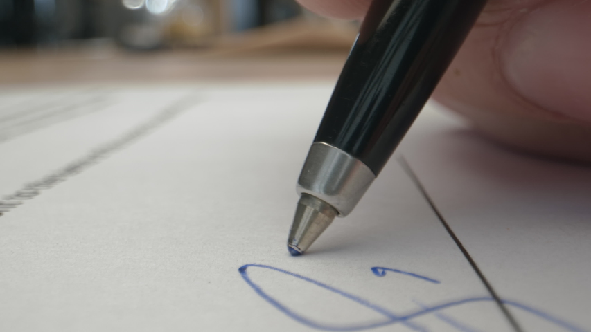 Signature on Contract by Pen in Male Hand. Sign Document on Deal at Office Work Indoors. Write Business Agreement or Undersign Protocol of Convention. Initials of Customer on Notification or Record | Shutterstock HD Video #1049042194