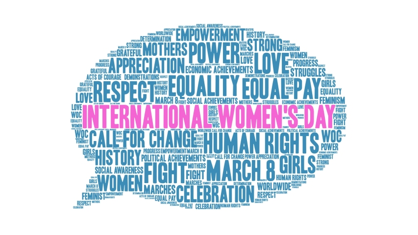 International Women's Day animated word cloud on a black background. Royalty-Free Stock Footage #1049052640