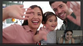 Family Using Video Conference for video call at home with teenage daughter abroad