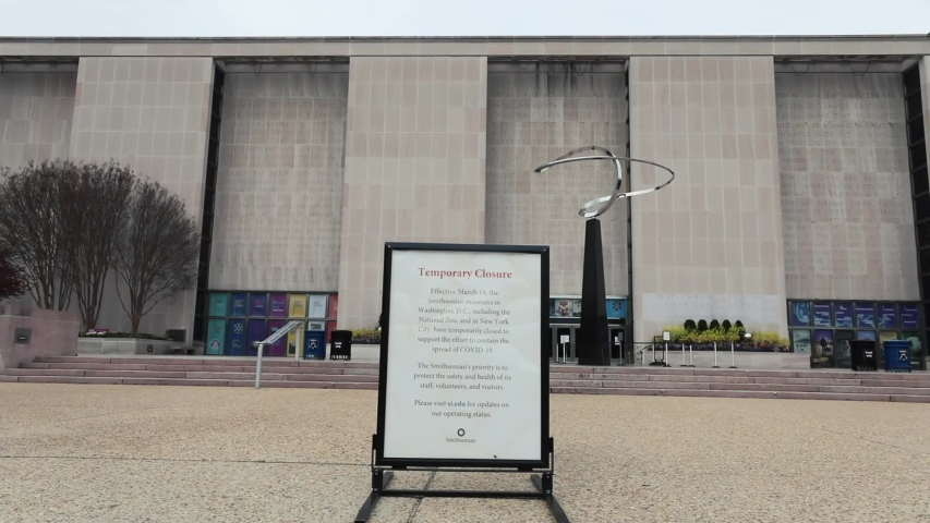 Washington, D.C. / USA - March 19, 2020: The National Museum of American History is closed due to the spread of the COVID-19 coronavirus pandemic in the United States.
