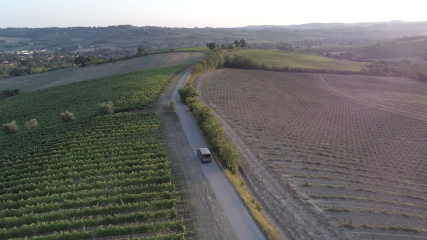 Aerial view of an asphalt road with a car go by at sunset, the route passes in the middle of fields planted with wine grapes | Shutterstock HD Video #1049099821