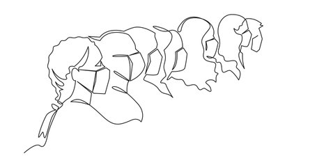 Self drawing animation of Group of people in medical face masks standing together. Prevention and safety procedures concept. Men and women wearing protection from virus, urban air pollution.