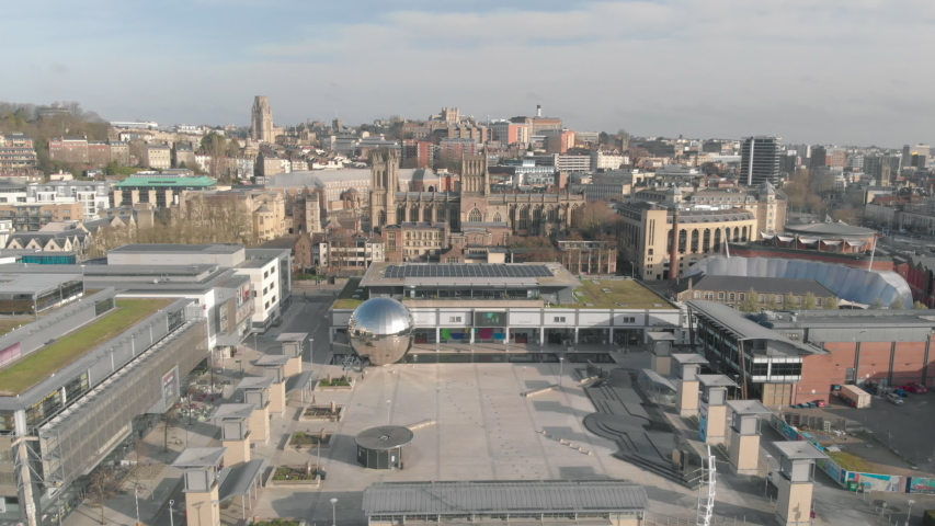 Drone footage of a quiet city during Coronavirus pandemic - Millennium Square, Bristol UK | Shutterstock HD Video #1049114803