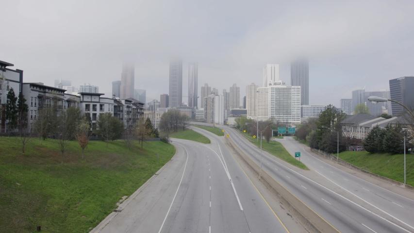 Overcast Empty Atlanta Highway With Skyline