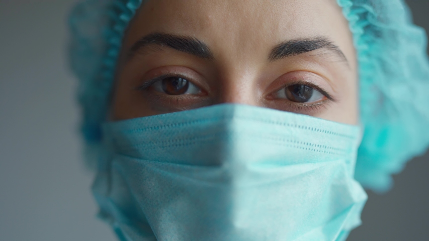 Close Up Doctor or nurse With Face Mask Preparing Surgery Intervention Medical Clinic | Shutterstock HD Video #1049139967