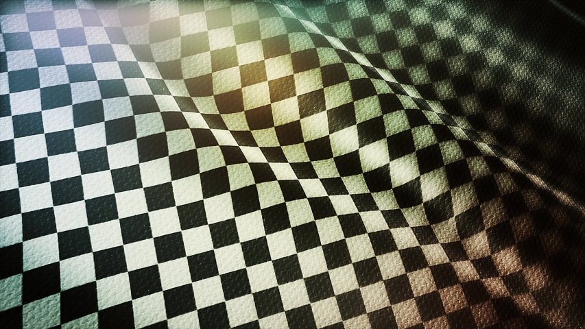 4k Checkered Race Flag Check Flag wavy silk fabric fluttering Racing Flags,seamless looped waving background.Silk cloth fluttering in wind. 3D digital animation plaid Formula One car motor sport.