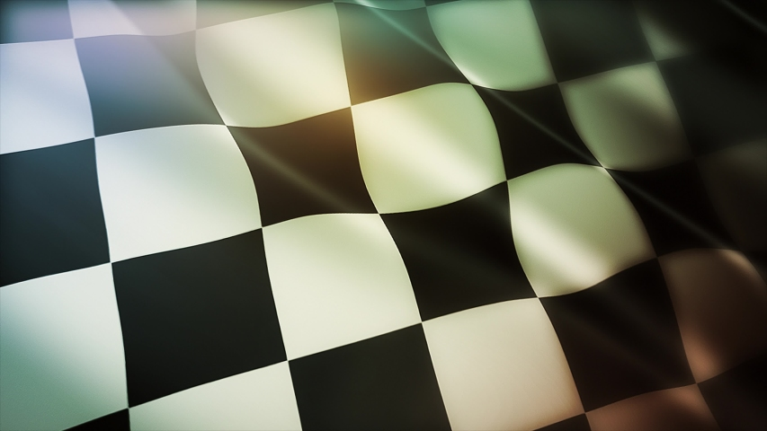 4k Checkered Race Flag Check Flag wavy silk fabric fluttering Racing Flags,seamless looped waving background. Silk cloth fluttering in wind. 3D digital animation plaid Formula One car motor sport.