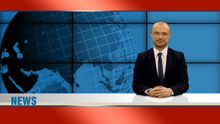 An anchorman reporting during news program on tv, 4k footage | Shutterstock HD Video #1049147578