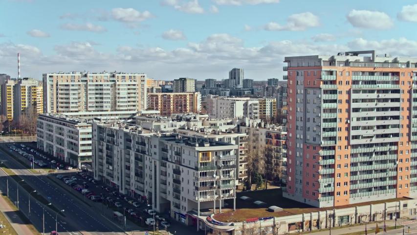Aerial View of Warsaw, block of flats in the Gocław district. Beautiful sunny day, shot in 5.2K CDNG, Warszawa, Poland, Polska | Shutterstock HD Video #1049152714