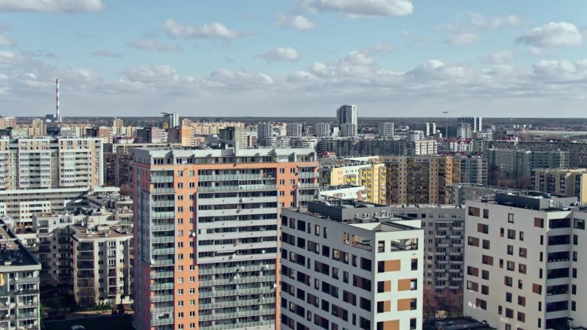 Aerial View of Warsaw, block of flats in the Gocław district. Beautiful sunny day, shot in 5.2K CDNG, Warszawa, Poland, Polska | Shutterstock HD Video #1049152717