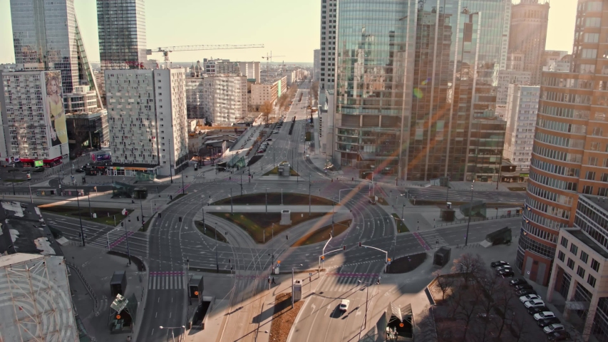 Aerial View of Warsaw, empty ONZ roundabout. Beautiful sunny day, shooted in 5.2K CDNG, Warszawa, Poland, Polska