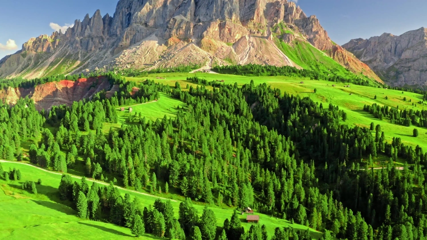 Aerial view of Passo delle Erbe at sunset in Dolomites