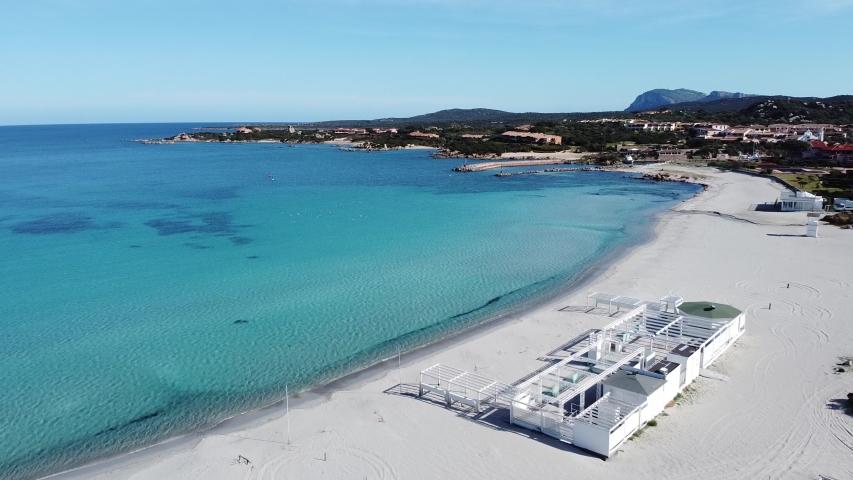 aerial view of golf of marinella beach, sardinia