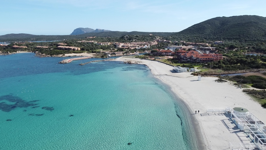 aerial view of golf of marinella beach, sardinia