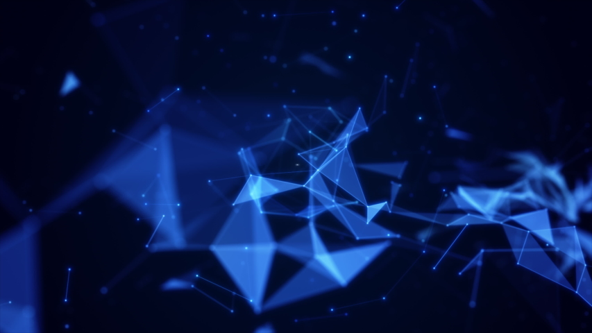 Polygon abstract background with dots and lines connect. Technology Network Data Connection. Animation of Futuristic Cyberspace on blue color background.   Shutterstock HD Video #1049289919