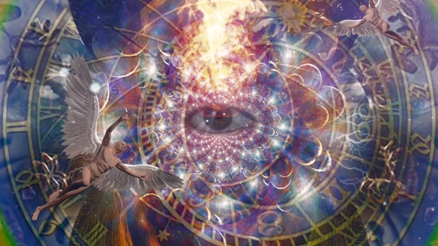 Angels and eye in endless dimensions. Astronomical clock | Shutterstock HD Video #1049291311
