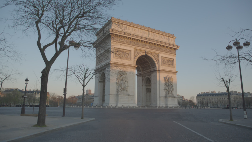Arc de Triomphe Paris Arc of Triumph Sunrise Empty Vide Coronavirus Confinement COVID19 01 | Shutterstock HD Video #1049307289