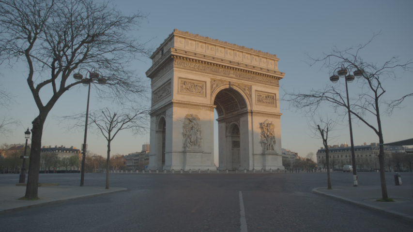 Arc de Triomphe Paris Arc of Triumph Sunrise Empty Vide Coronavirus Confinement COVID19 02 | Shutterstock HD Video #1049307301
