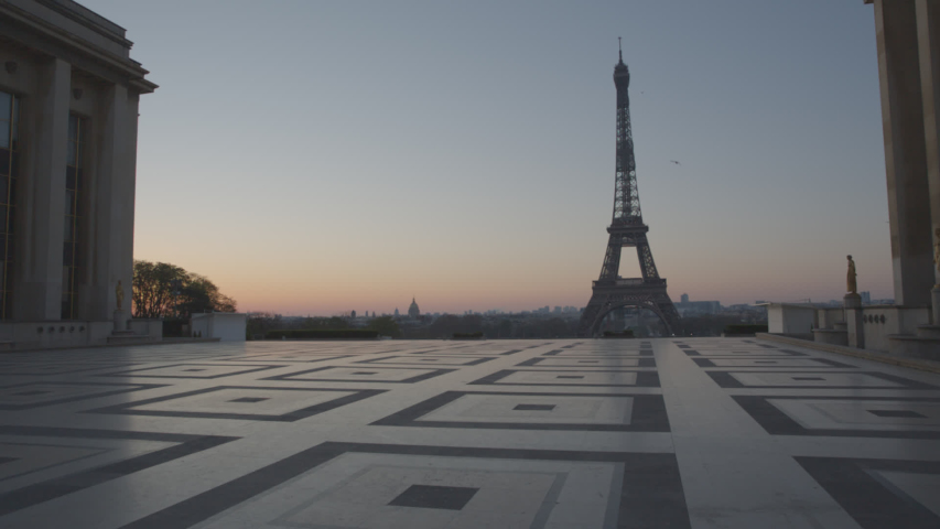 Tour Eiffel Paris Eiffel Tower Trocadero Sunrise Empty Vide Coronavirus Confinement COVID19 01 | Shutterstock HD Video #1049307316