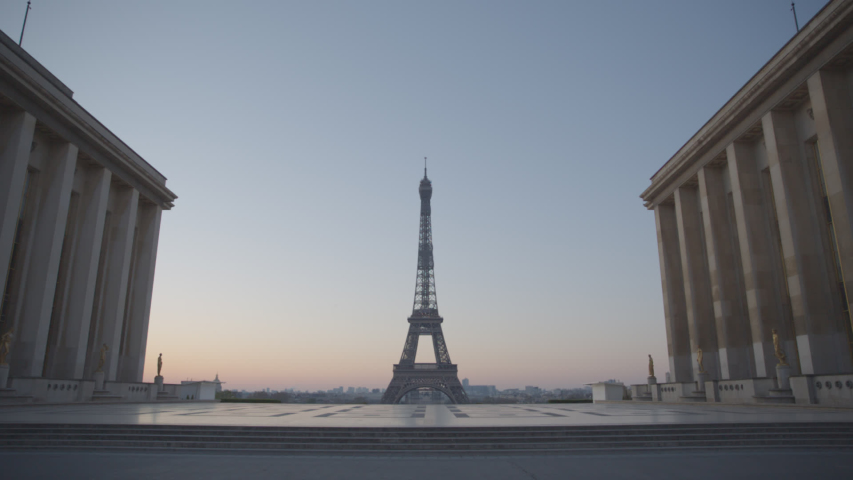 Tour Eiffel Paris Eiffel Tower Trocadero Sunrise Empty Vide Coronavirus Confinement COVID19 02 | Shutterstock HD Video #1049307319