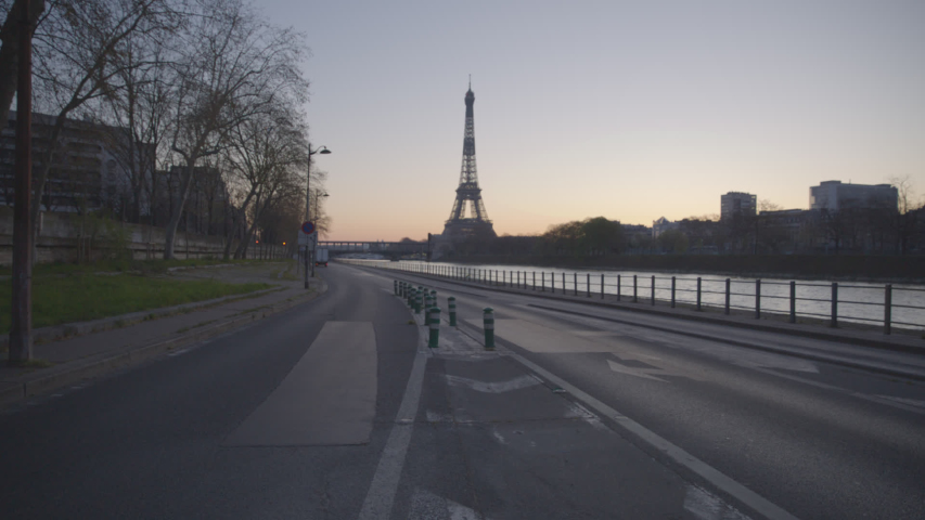 Tour Eiffel Paris Eiffel Tower Sunrise Empty Vide Coronavirus Confinement COVID19 02 | Shutterstock HD Video #1049307325